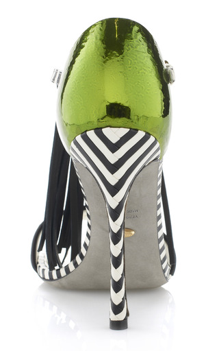 Tawaraya Single Tier Fringe T-Strap Standal by Sergio Rossi for Preorder on Moda Operandi