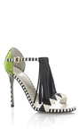Tawaraya Single Tier Fringe T-Strap Standal by Sergio Rossi for Preorder on Moda Operandi