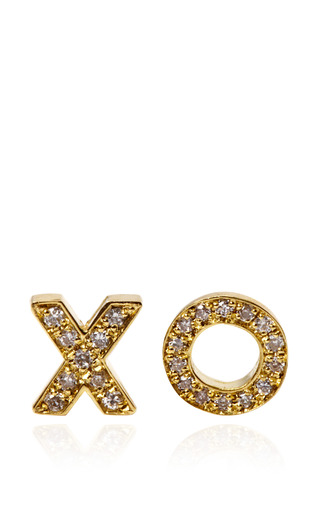 18K Yellow Gold and Diamond XO Stud Earrings by Jennifer Meyer Now Available on Moda Operandi