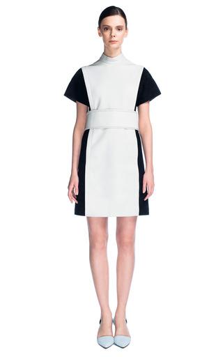 Lightweight Suede Short Sleeve Standing Collar Dress With