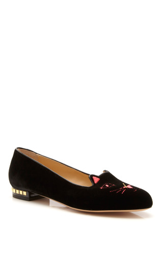 Kitty Anarchy Velvet Slippers by Charlotte Olympia x Tom Binns for Preorder on Moda Operandi