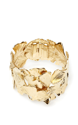 Gold-Plated Ginkgo Feather Cuff by Aurélie Bidermann Now Available on Moda Operandi