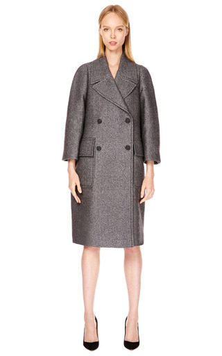 Reeves Double-Breasted Tweed Overcoat by Calvin Klein Collection Now Available on Moda Operandi