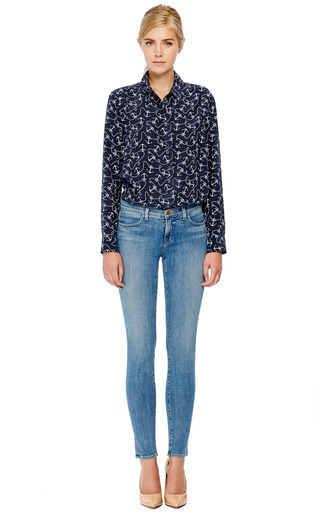Equipment - Reese Anchor-Print Silk Blouse