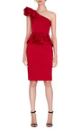 Rose-Detail Sculpted Asymmetric Dress by Marchesa Now Available on Moda Operandi