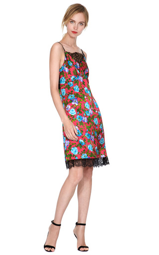 Floral Lace-Trimmed Silk-Satin Slip Dress by Nina Ricci Now Available on Moda Operandi