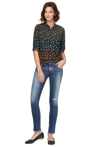 Equipment - Signature Slim-Fitted Floral Print Silk Blouse
