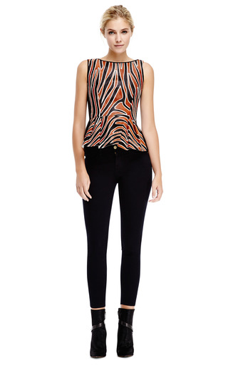 Mother of Pearl - Leona Calf-Hair Peplum Top with Contrast Back