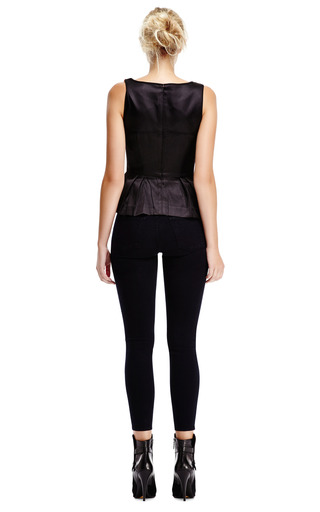 Leona Calf-Hair Peplum Top with Contrast Back by Mother of Pearl Now Available on Moda Operandi