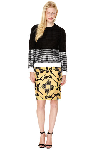 Cotton-Blend Jacquard Pencil Skirt by Mother of Pearl Now Available on Moda Operandi