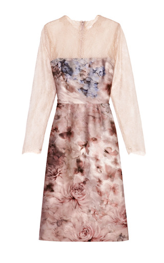 Floral-Print Silk Mikado Lace-Sleeved Dress by Valentino Now Available on Moda Operandi