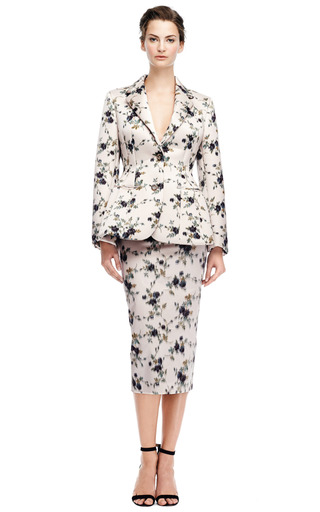 Duchesse Satin Jacquard Neoprene Bonded Blazer by ROCHAS Now Available on Moda Operandi