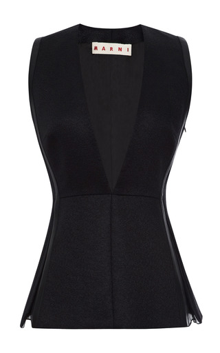 Leather Trimmed Deep V Neck Top by MARNI Now Available on Moda Operandi