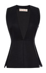 Leather-Trimmed Deep V-Neck Top by Marni Now Available on Moda Operandi