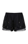 Chiffon-Trimmed Embellished Shorts by Thakoon Addition Now Available on Moda Operandi