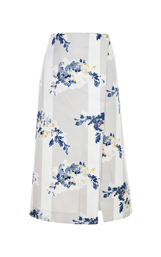 Suno - Floral-Print Satin A-Line Wrap Skirt