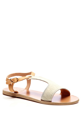 Leather and Calf Hair T-Strap Sandals by Ancient Greek Sandals Now Available on Moda Operandi