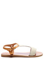 Ancient Greek Sandals - Leather and Calf Hair T-Strap Sandals
