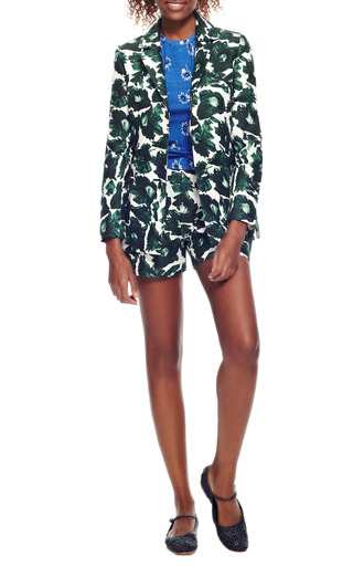 Printed Cotton-Sateen Tailored Shorts by Mother of Pearl Now Available on Moda Operandi