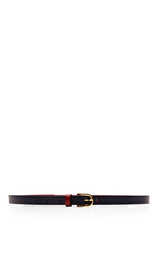Two Tone Skinny Leather Belt by MAISON BOINET Now Available on Moda Operandi