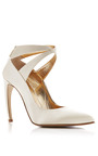 Curved Heel Satin Pumps by WALTER STEIGER Now Available on Moda Operandi