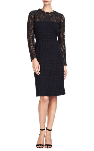 Valentino - Tweed Dress with Lace Neckline and Sleeves