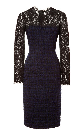 Tweed Dress with Lace Neckline and Sleeves by Valentino for Preorder on Moda Operandi