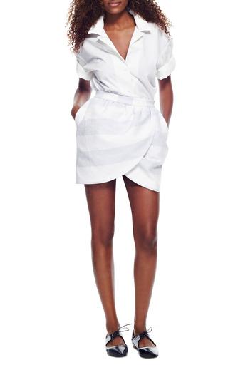 Wide-Striped Mini Wrap Skirt by Harvey Faircloth Now Available on Moda Operandi