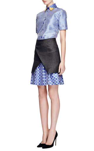 Ostwald Helgason - Raffia and Satin Jacquard Pleated Skirt