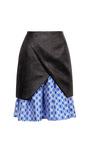 Raffia and Satin Jacquard Pleated Skirt by Ostwald Helgason Now Available on Moda Operandi