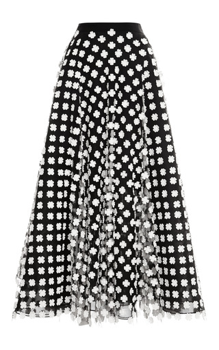 Floral-Appliquéd Midi Tulle Skirt by Oscar de la Renta Now Available on Moda Operandi