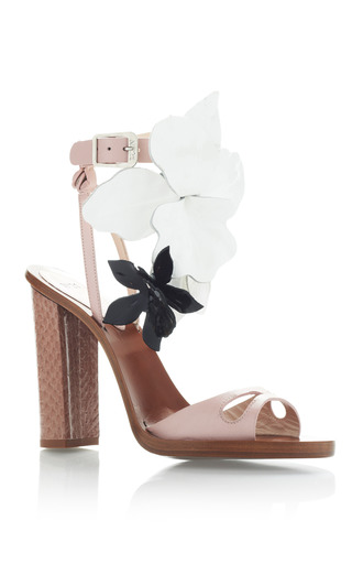 blush pink high heel sandals with black and white flowers