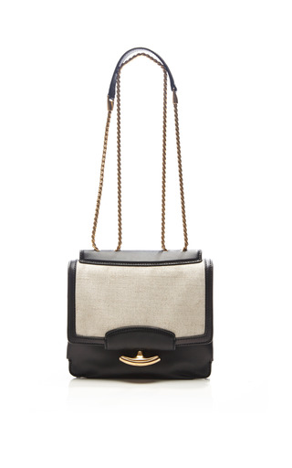 Nina Ricci - Gala Leather and Linen Shoulder Bag