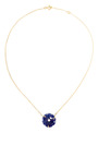 Gag & Lou - Lapis Lazuli Rose Necklace With Diamond Insert, Yellow Gold Chain