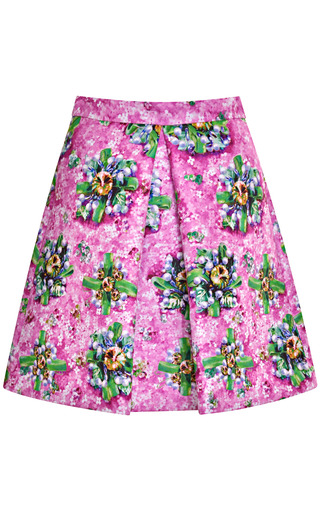 Amber Printed Satin Pleated Skirt by Mary Katrantzou Now Available on Moda Operandi
