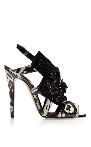 Eliza Floral-Embellished Snakeskin Sandals by Brian Atwood Now Available on Moda Operandi