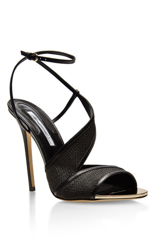 Pansy Leather and Raffia Sandals by Brian Atwood Now Available on Moda Operandi