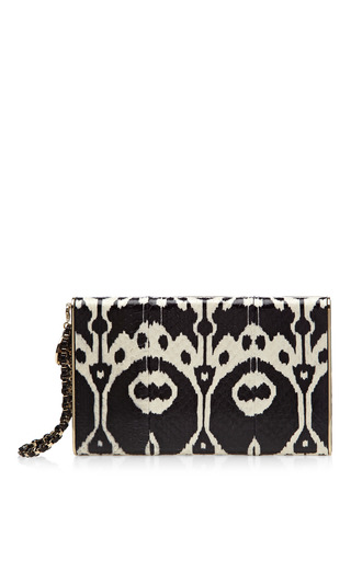 Metal Frame Snakeskin Clutch by Brian Atwood for Preorder on Moda Operandi