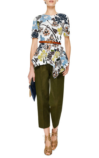 Pleat Front Cropped Pants by MSGM Now Available on Moda Operandi