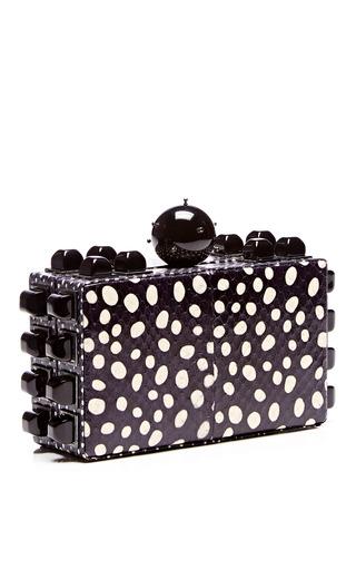 Polka-Dot Printed Snakeskin Clutch by Tonya Hawkes Now Available on Moda Operandi