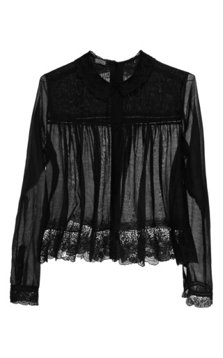 Lace-Trimmed Cotton-Voile Blouse by Meadham Kirchhoff Now Available on Moda Operandi