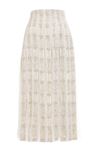 Pearl Embellished Pleated Lace Skirt by MEADHAM KIRCHHOFF Now Available on Moda Operandi