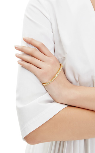 Gold-Plated and Crystal Pave Palm Cuff Bracelet by Fallon Now Available on Moda Operandi