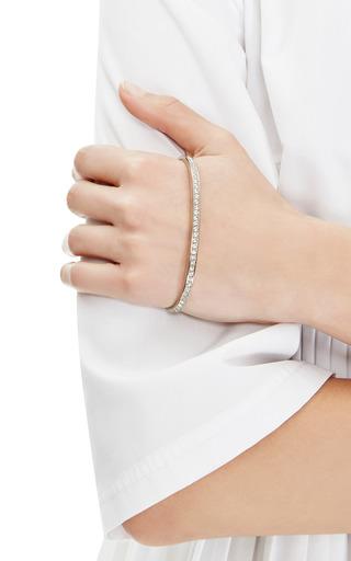 Fallon - Rhodium-Plated Crystal Pave Palm Cuff Bracelet