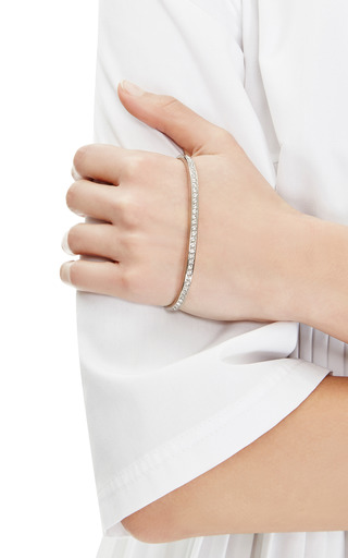 Rhodium-Plated Crystal Pave Palm Cuff Bracelet by Fallon Now Available on Moda Operandi
