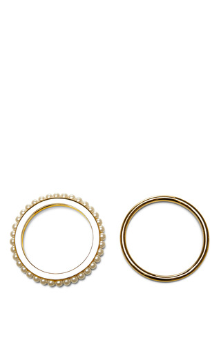 Gold-Plated and Pearl Bangle Set by Fallon Now Available on Moda Operandi