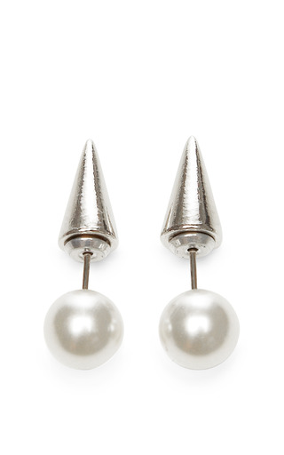 Rhodium Plated Swarovski Crystal And Pearl Earrings by FALLON Now Available on Moda Operandi