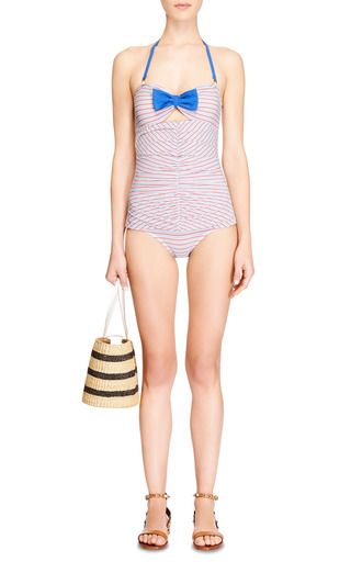 Mimi Striped Ruched-Front Swimsuit by ETE Swim Now Available on Moda Operandi