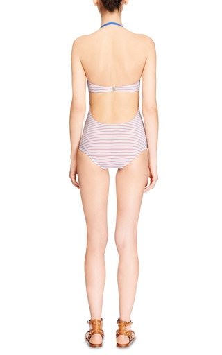 Mimi Striped Ruched-Front Swimsuit by ETE Swim for Preorder on Moda Operandi