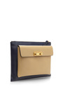 Two-Tone Zip Top Leather Clutch by Marni Now Available on Moda Operandi